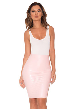 Sofia Baby Pink Latex Pencil Skirt