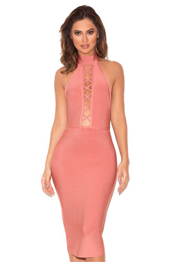 Taavi Rose Lace Up Bandage Dress