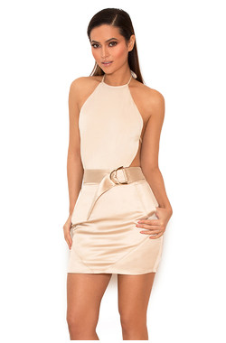 Jasina Metallic Oyster Backless Bodysuit