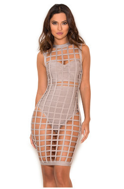 Thyda Grey Bandage Cage Dress with Shorties and Bustier