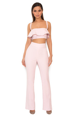 Tyna Light Pink Stretch Crepe Two Piece Trouser Set