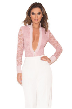 Paraisa Rose Pink Stretch Lace Zip Front Bodysuit