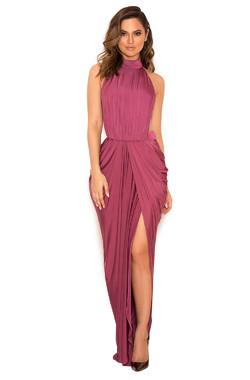 'Vittoria' Raspberry Draped Silky Jersey Maxi Dress