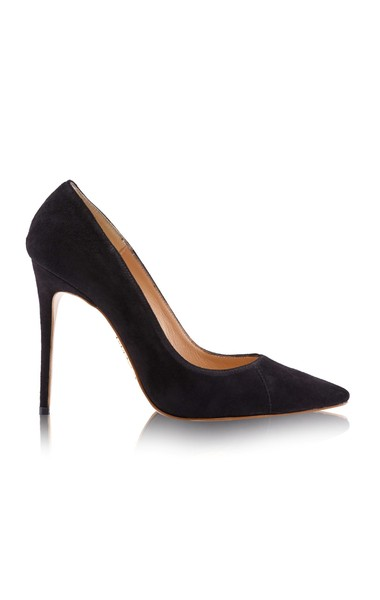 """'PARIS' Suede Black Patent Leather Pointy Toe Heels 4"""""""
