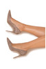 PARIS Suede Mocha Patent Leather Pointy Toe Heels 5""