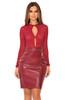 Siyanna Wine Vegan Leather Mini Skirt