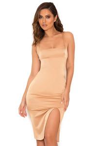 Essie Nude Stretch Satin Thigh Split Dress