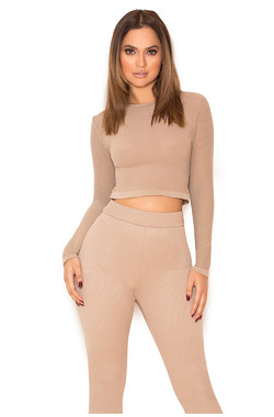 Major Mocha Knitted Stretch Mesh Long Sleeved Top