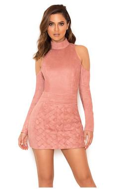 Marzia Dusty Pink Cold Shoulder Bodysuit