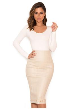 Remi Stone Stretch Vegan Leather Studded Pencil Skirt