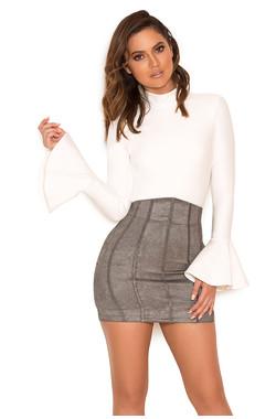 Janelle Grey Suedette Mini Skirt