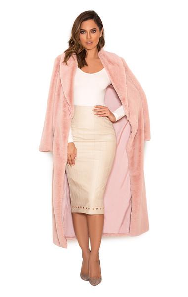 Fiore Blush Faux Fur Full Length Coat