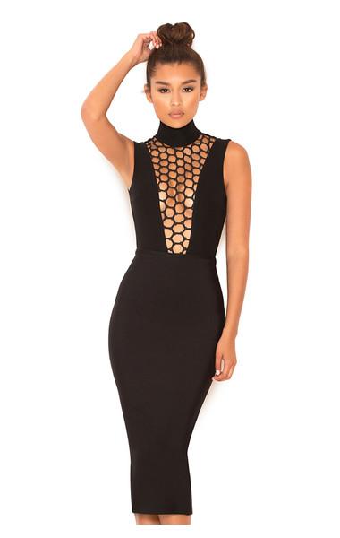 Tiana Black Open Work Deep V Bodysuit