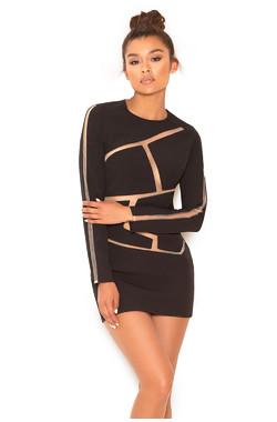 Caribe Black and Nude Geometric Dress