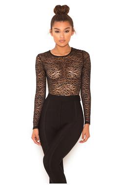 Carmine Black Sheer Lace long Sleeve Bodysuit
