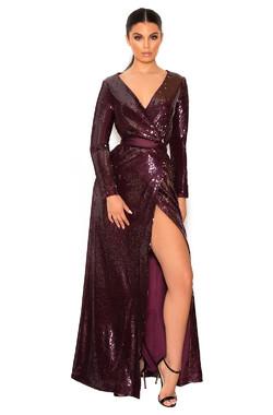 Carpisa Wine Sequinned Maxi Dress