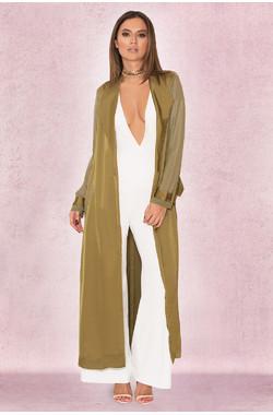 Coryn Khaki Silky Duster Coat