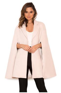 Marli Cream Wool-Mix Cape Coat