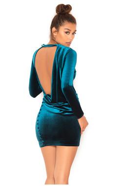 Maroush Teal Velvet Backless Dress