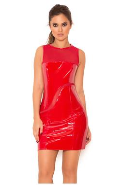 Rala Red Glossy Stretch Vinyl & Mesh Dress