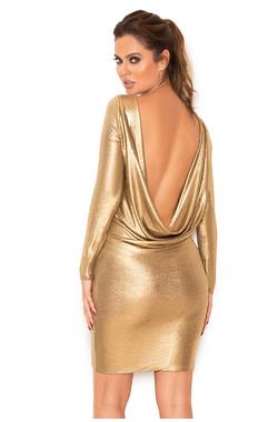 Sabella Metallic Gold Backless Draped Silky Jersey Dress