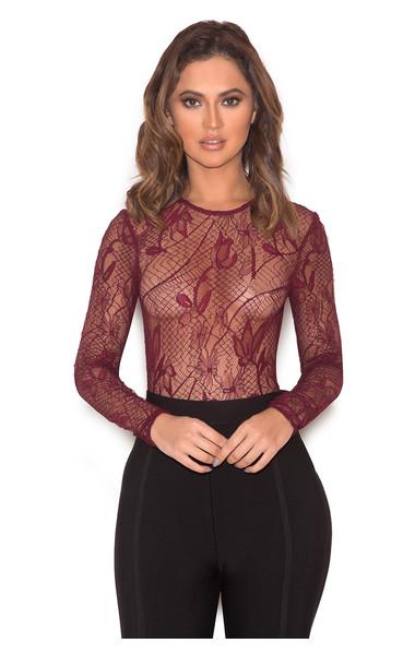 Zeniya Wine Red Sheer Lace Bodysuit
