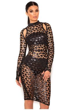 Aleera Black SpiderWeb Sequin Cut Out Dress