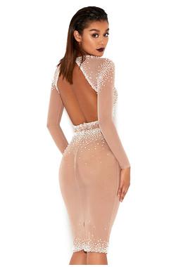 Hadassa Nude Pearl Hand Embellished Sheer Skirt