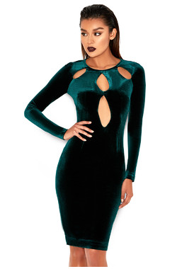 Denara Evergreen Stretch Velvet Cut Out Dress