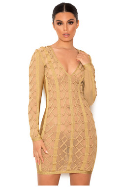 Feodora Golden Lurex Bandage and Mesh Dress