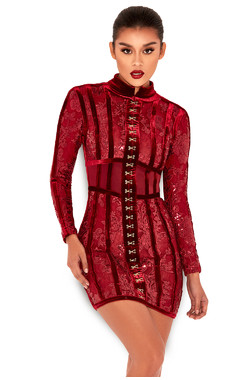 Gigi Deep Red Velvet and Lace Mini Dress