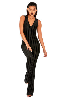 Jenesis Black Devore Plunge Neck Jumpsuit