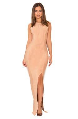 Laverle Nude Bandage Maxi Dress