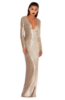 Marreo Gold Sequinned Plunge Neck Maxi Gown
