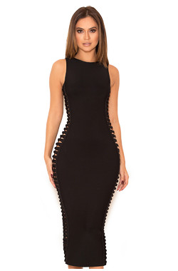 Martinique Black Side Weave Bandage Dress