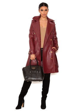 Maven Burgundy Vegan Leather Double Breasted Trench Coat