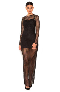 Nyla Black Crystal Encrusted Fishnet Maxi Dress with Under Garments