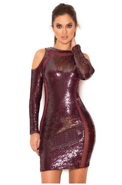 Vinara Wine Sequinned Cold Shoulder Dress