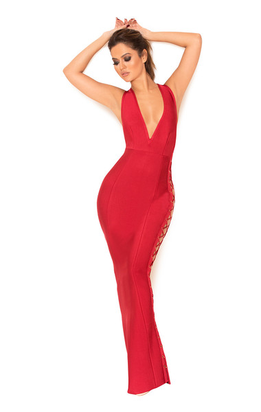 Farera Red Deep Plunge Neck Bandage Maxi Dress