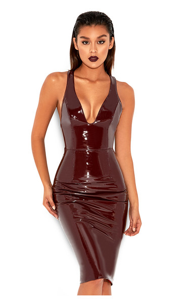 Raveena Burgundy Patent Vegan Leather T Back Dress