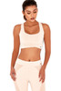 Cool Nude & Blush Wrap Effect Scoop Neck Cropped Workout Top