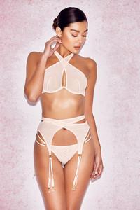 Marina Nude Cross Front Mesh Bra