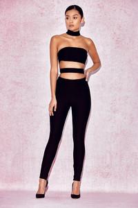 'Celena' Black Cut Out Panel Jumpsuit