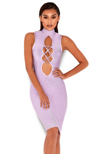 'Harun' Lilac Lace Up Bandage Dress
