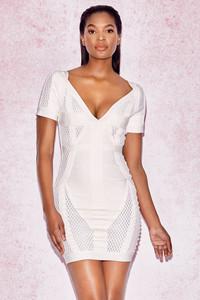 Marinella White Deep V Bandage Mesh Dress