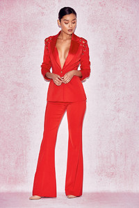 NayelI Red Shoulder Lace Up Trouser Suit