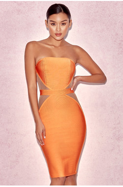 'Cascadia' Orange Strapless Bandage & Mesh Dress
