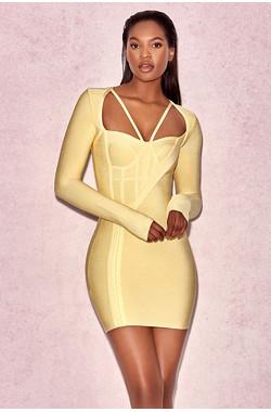 Giacomina Yellow Long Sleeve Bandage Dress with Hook & Eye Details