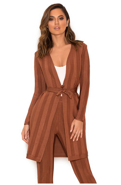 Hasler Tan Bandage Long Line Cardigan