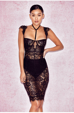 Hermosa Black Lace Collar Dress with Briefs